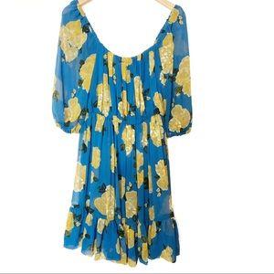 MNG Blue and yellow midi dress